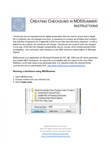 Instructions for Creating and Verifying Checksums in MD5